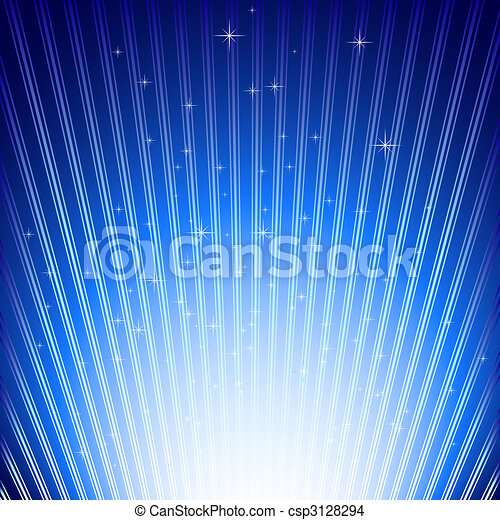 Sparkling stars on blue light burst background - csp3128294