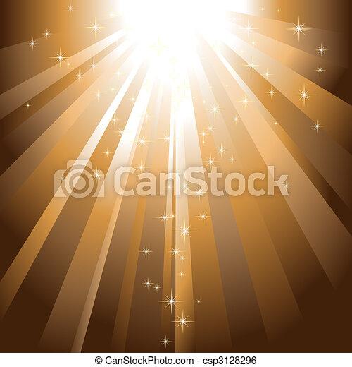Sparkling stars descending on golden light burst - csp3128296