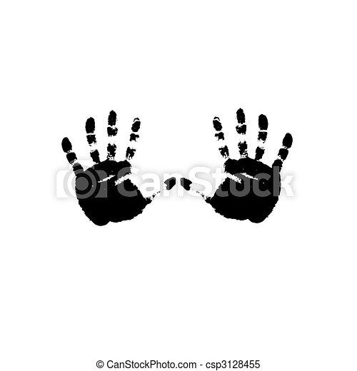 Black prints of hands. Vector - csp3128455