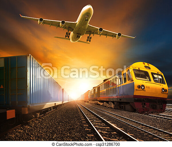 industry container trainst running on railways track and cargo freight plane flying above against beautiful sun set sky use for land transport and logistic business
