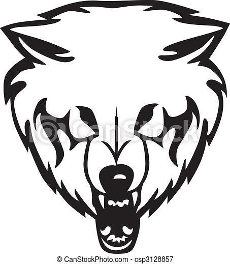Illustrations vectoris es de loup vecteur t te - Tete de loup dessin ...