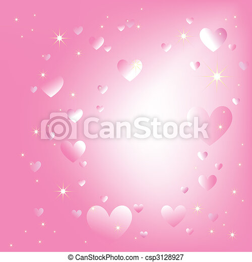 Sparkling hearts stars on romantic pink color background - csp3128927