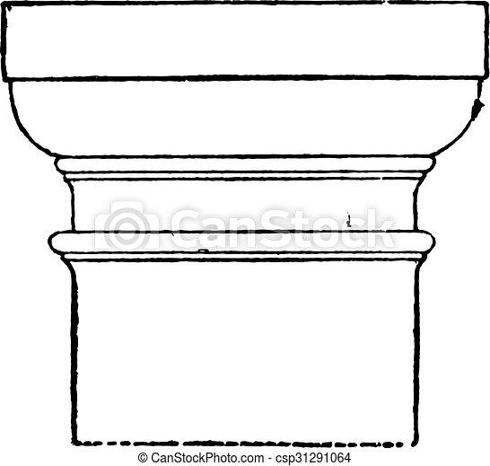 Tuscan capital, vintage engraving. - csp31291064