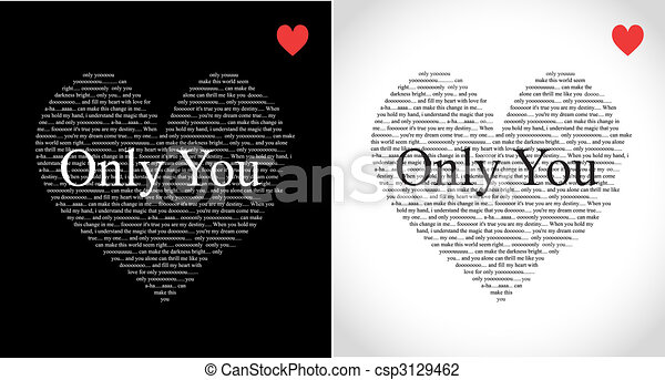 Clip Art of Valentines day typographic heart greeting card – Black and White Valentines Day Cards