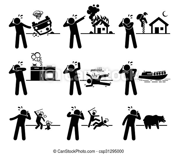 Vector Clipart Of Man Calling Emergency Call Emergency