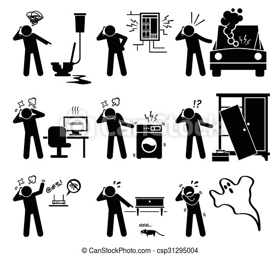 Man Calling Help House Problem 31295004