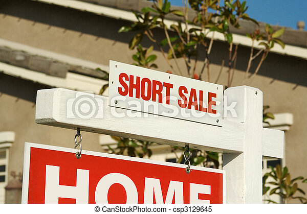 Short Sale Real Estate Sign & New Home - csp3129645