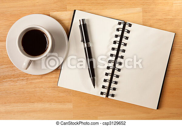 Blank Spiral Note Pad, Cup and Pen on Wood - csp3129652