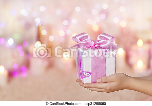 Gift Boxes Holding Hands, Giving Present Pink for Girl or Woman
