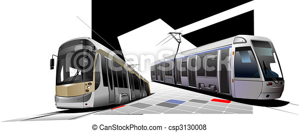 City transport. Two Trams. Vector illustration - csp3130008