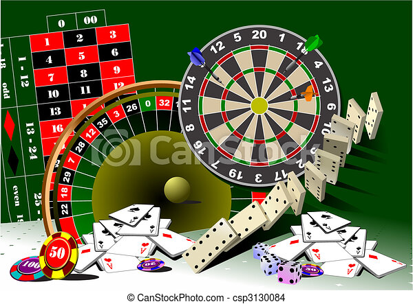Roulette table and casino elements - csp3130084