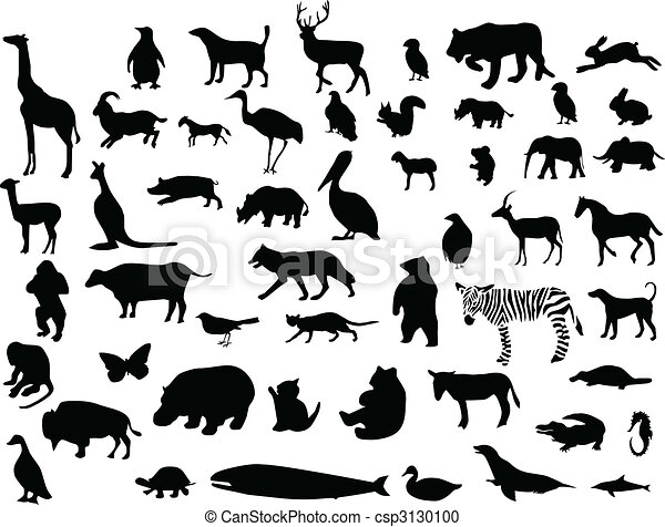 Collection of animal silhouettes - csp3130100