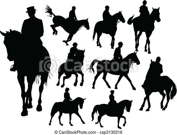Horse  rider silhouettes - csp3130316