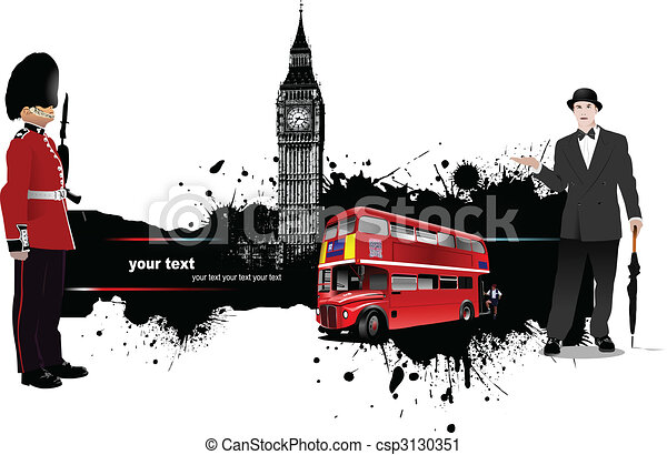 Grunge banner with London and bus images - csp3130351