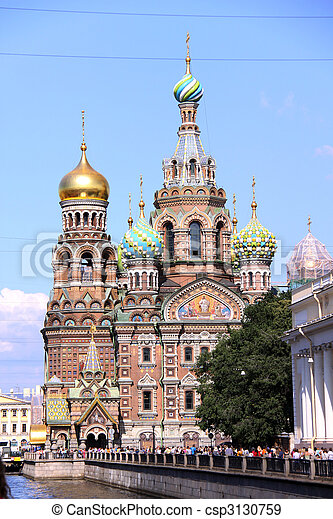 Church of the Savior on Blood - very famous landmark in Saint Petersburg, Russia, Europe - csp3130759