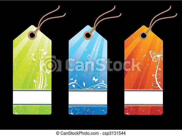 Grunge floral sales tags - csp3131544