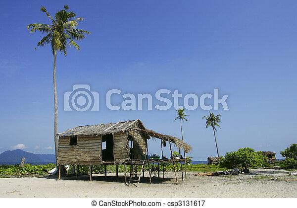 Native house of the Bajau Laut at the Sibuan Island, Malaysia - csp3131617