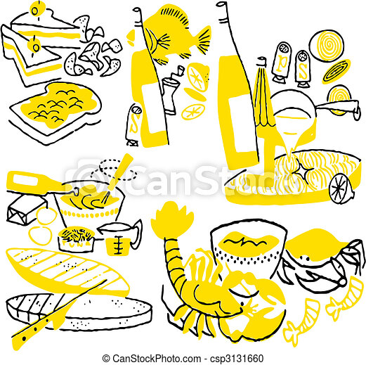 Hand drawn cooking doodles. Vector illustration cartoon. - csp3131660