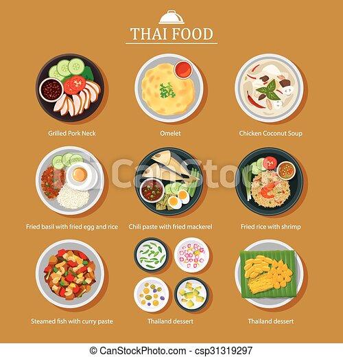 Vector Set Of Thai Food Flat... - Royalty Free Vector ...