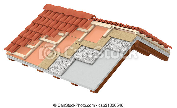 drawing of thermal insulation of a roof cross section of a house csp31326546 search clip. Black Bedroom Furniture Sets. Home Design Ideas