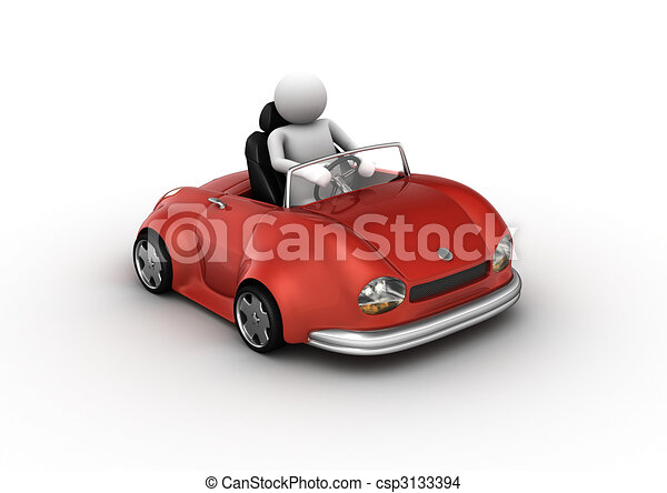 Red cabrio car driven by character - csp3133394