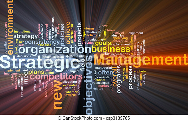 Strategic management word cloud glowing - csp3133765
