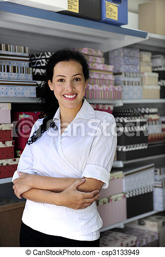 ägare, försäljning butiken, portait - csp3133949