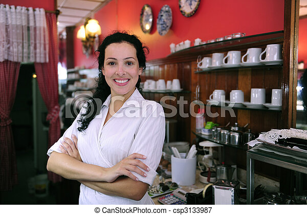 proud and confident owner of a cafe/ pastry shop - csp3133987