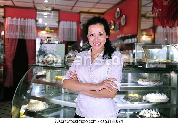 proud and confident owner of a cafe/ pastry shop - csp3134074