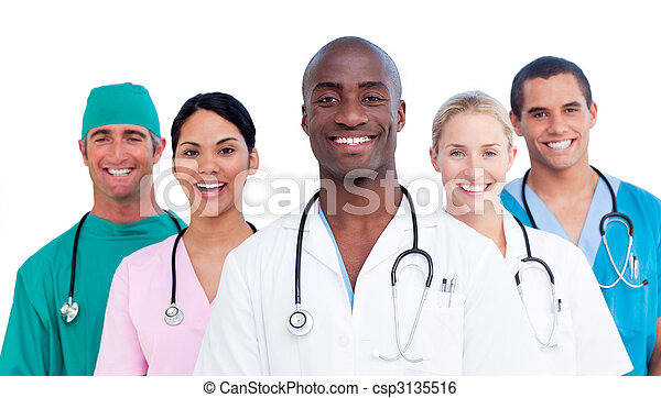 Retrato, médico, positivo, equipe - csp3135516