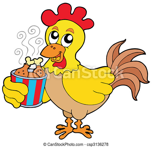 Cartoon chicken with meal box - csp3136278