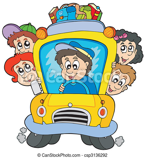 School bus with children - csp3136292