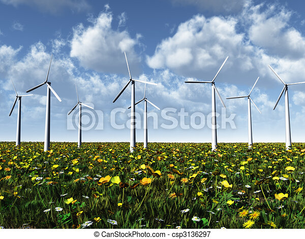 Wind power turbines on a meadow. - csp3136297