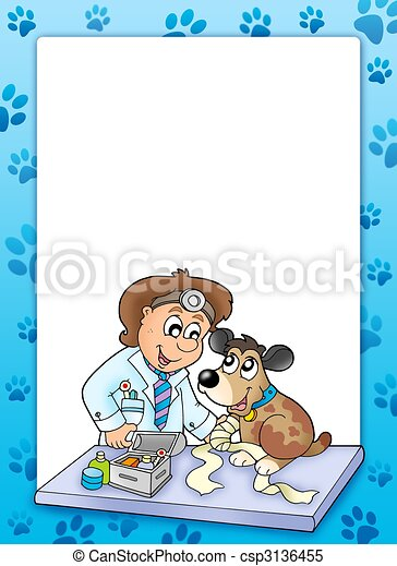 Frame with sick dog at veterinarian - csp3136455