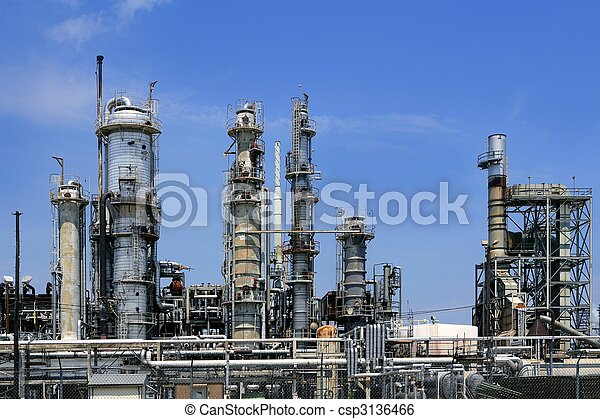 Oil industry installation, metal skyline blue sky - csp3136466