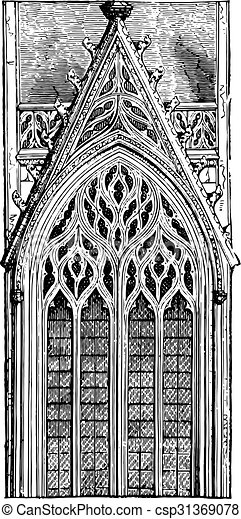 Gothic window of the late fifteenth century arch tierce point three mullions, ending in a fiery network, vintage engraving.