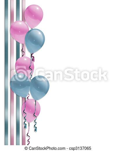 Balloons border baby shower - csp3137065