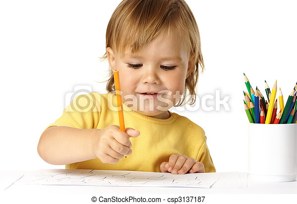 Happy child draw with crayons and smile - csp3137187