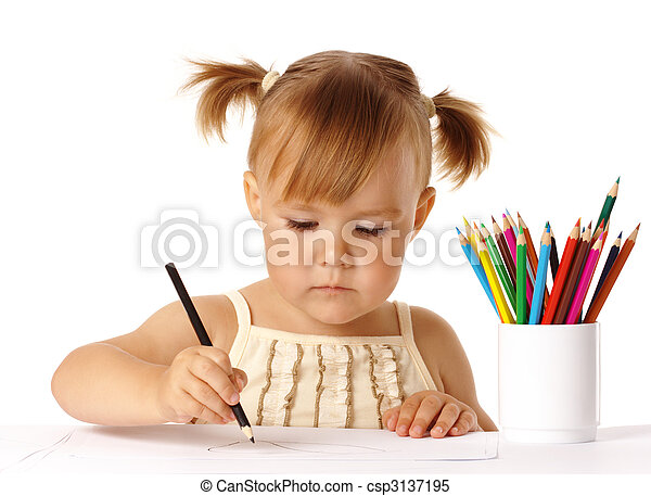 Cute preschooler focused on drawing - csp3137195
