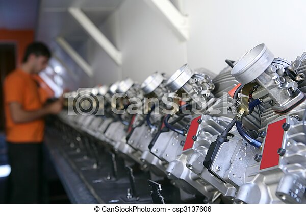 Engines from kart cars in row line for been inspected - csp3137606