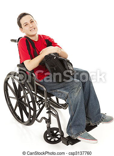 Disabled Teen Boy Full Body - csp3137760