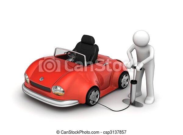 Man pumping red cabrio's tyre - csp3137857