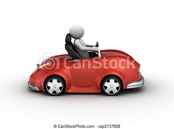 Red cabrio car driven by character - csp3137858