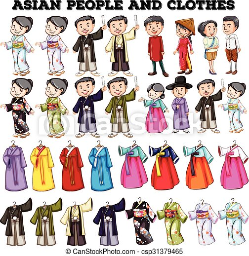 Clip Art Vector of Asian people and clothes illustration ...
