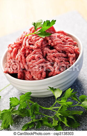 Bowl of raw ground meat - csp3138303
