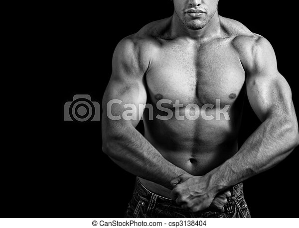 Big athletic man showing his muscles - csp3138404