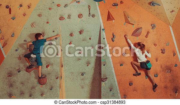 Children climbing indoor