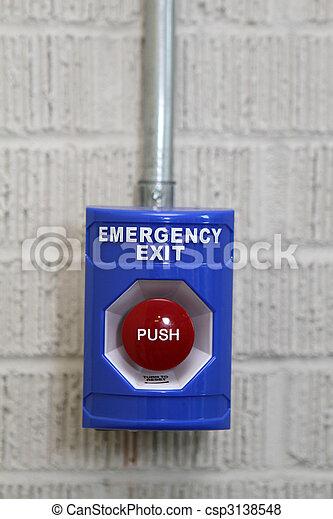 押し, ボタン, 出口, 緊急事態 - csp3138548