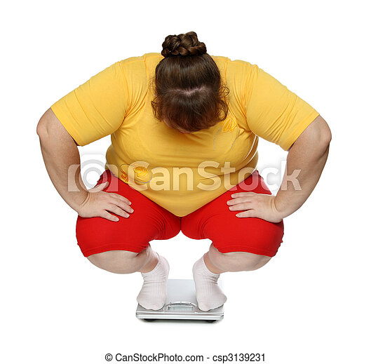 overweight women on scales - csp3139231