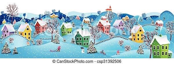 Horizontal Winter Banner Stock Illustration - Instant ...